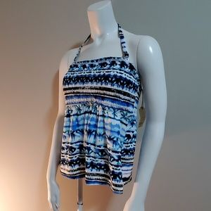 NWT St John's Bay Blue & White Tankini Top